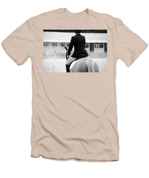 Men's T-Shirt (Slim Fit) featuring the photograph Rider In Black And White by Jennifer Ancker