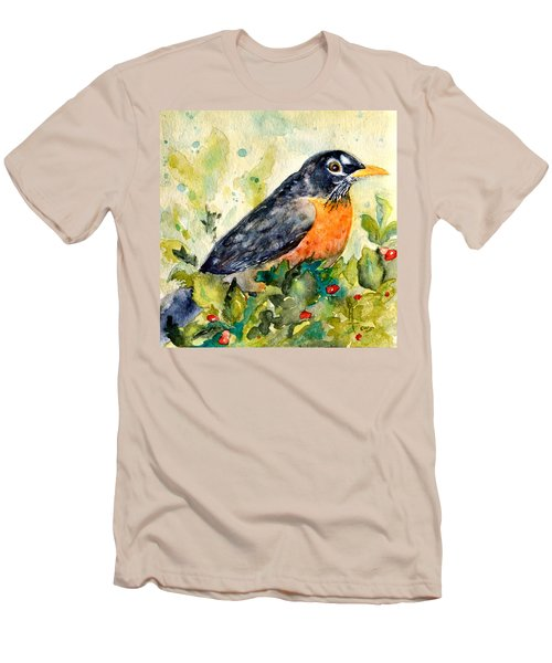 Men's T-Shirt (Slim Fit) featuring the painting Robin In The Holly by Beverley Harper Tinsley