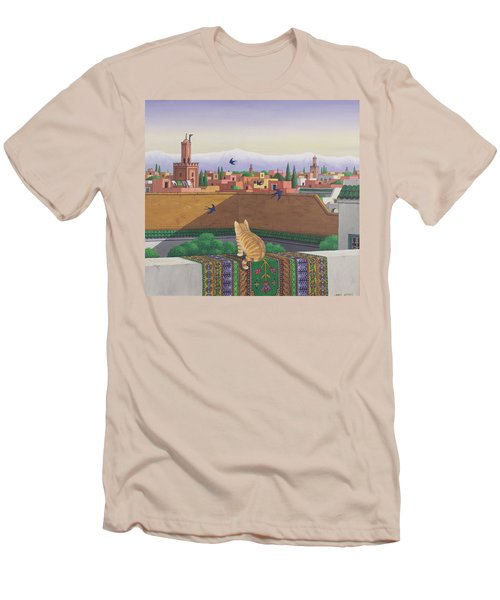 Rooftops In Marrakesh Men's T-Shirt (Slim Fit) by Larry Smart