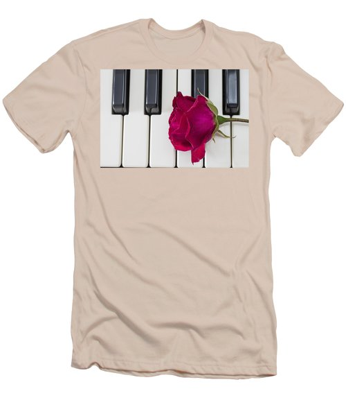 Rose Over Piano Keys Men's T-Shirt (Athletic Fit)