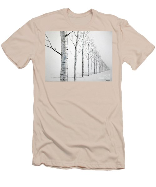 Row Of Birch Trees In The Snow Men's T-Shirt (Athletic Fit)