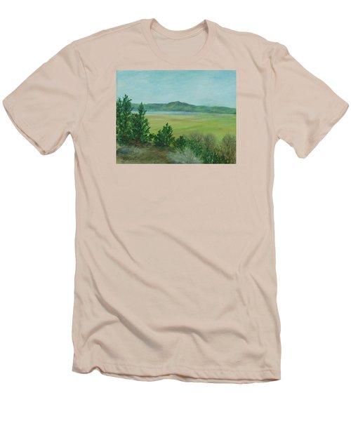 Rural Landscape Art Original Colorful Oil Painting Swan Lake Oregon  Men's T-Shirt (Slim Fit) by Elizabeth Sawyer