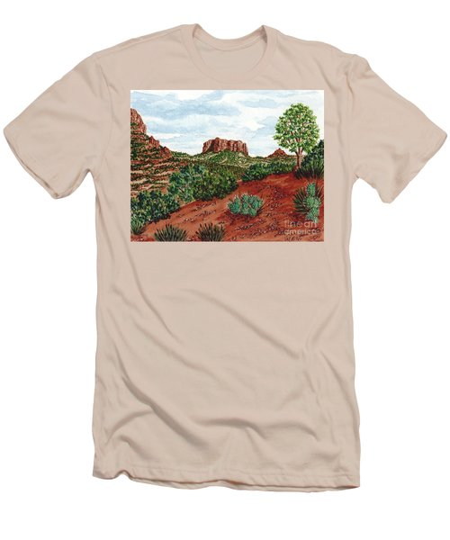 Men's T-Shirt (Slim Fit) featuring the painting Sadona Two Mountains by Val Miller