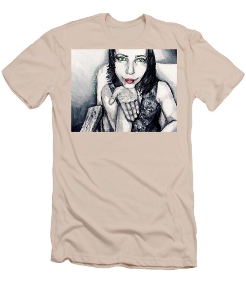 Men's T-Shirt (Slim Fit) featuring the painting Sage by Shana Rowe Jackson
