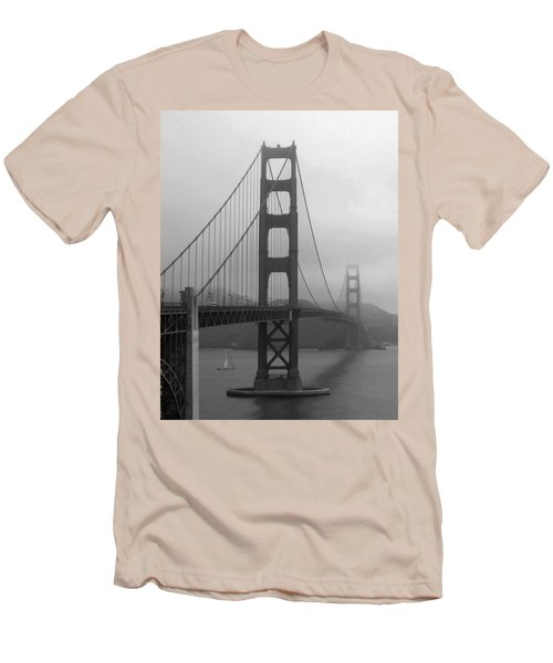 Sailboat Passing Under Golden Gate Bridge Men's T-Shirt (Slim Fit) by Connie Fox