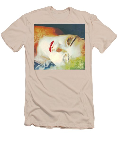 Men's T-Shirt (Slim Fit) featuring the digital art Sally Sleeps by Kim Prowse