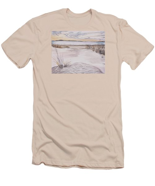 Men's T-Shirt (Slim Fit) featuring the painting Santa Cruz Sunset by Ian Donley