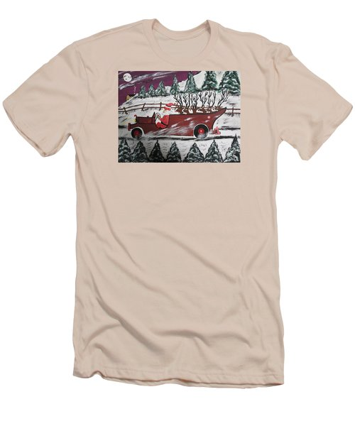 Men's T-Shirt (Slim Fit) featuring the painting Santa's Truckload by Jeffrey Koss