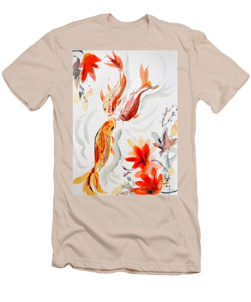 Men's T-Shirt (Slim Fit) featuring the painting School by Beverley Harper Tinsley