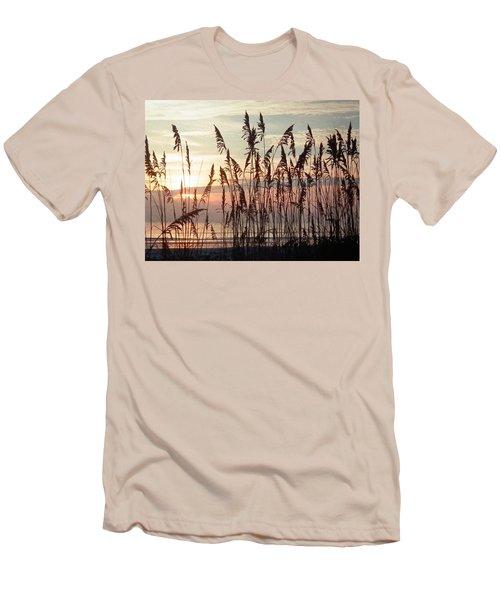 Fabulous Blue Sea Oats Sunrise Men's T-Shirt (Slim Fit) by Belinda Lee