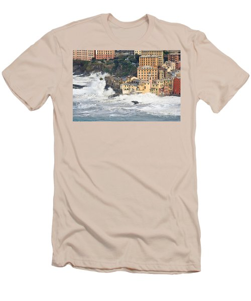 Men's T-Shirt (Slim Fit) featuring the photograph Sea Storm In Camogli - Italy by Antonio Scarpi