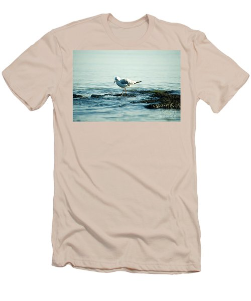 Men's T-Shirt (Slim Fit) featuring the photograph Seagull Hunting by Yew Kwang