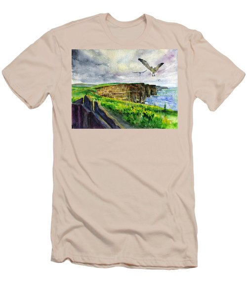 Seagulls At The Cliffs Of Moher Men's T-Shirt (Slim Fit) by John D Benson