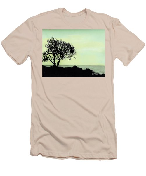 Men's T-Shirt (Slim Fit) featuring the drawing Seashore Silhouette by D Hackett