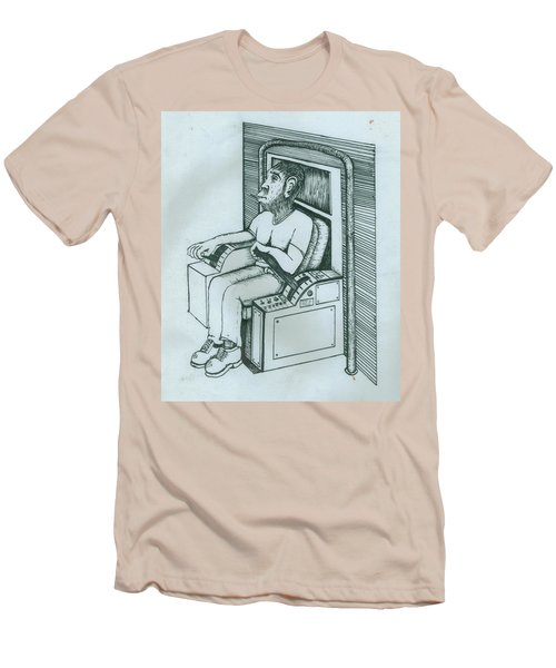 Seated Monkey Sketch Men's T-Shirt (Athletic Fit)