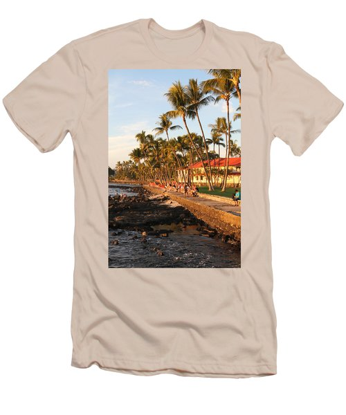 Seawall At Sunset Men's T-Shirt (Slim Fit) by Denise Bird