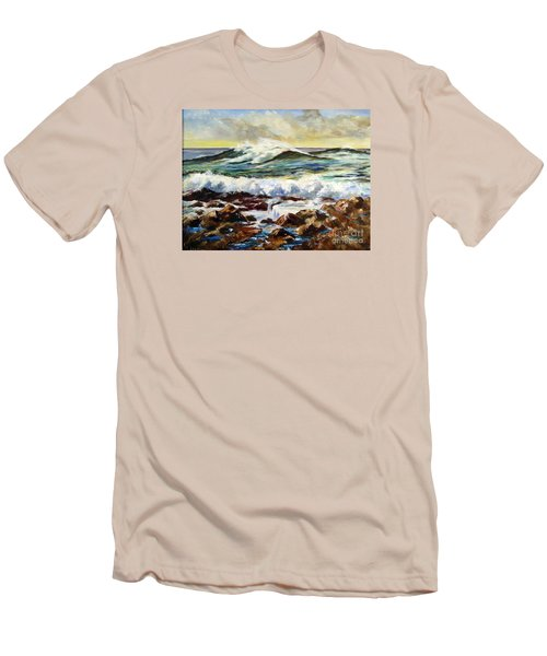 Men's T-Shirt (Slim Fit) featuring the painting Seawall by Lee Piper
