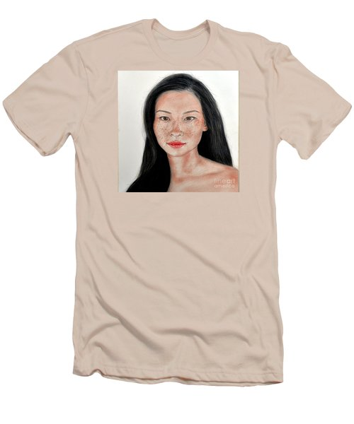 Sexy Freckle Faced Beauty Lucy Liu Men's T-Shirt (Slim Fit) by Jim Fitzpatrick