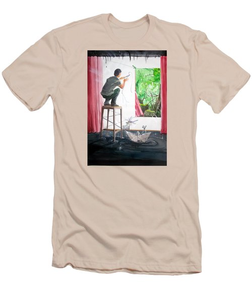 Shaping The Peace Listen With Music Of The Description Box Men's T-Shirt (Slim Fit) by Lazaro Hurtado