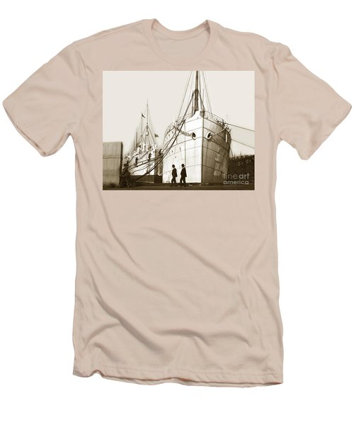 Men's T-Shirt (Slim Fit) featuring the photograph Steam Ships San Francisco California   Circa 1900 Historical Photo by California Views Mr Pat Hathaway Archives