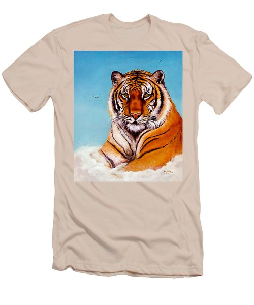 Men's T-Shirt (Slim Fit) featuring the painting Siberian King Tiger by Bob and Nadine Johnston