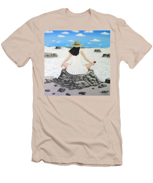 Men's T-Shirt (Slim Fit) featuring the painting Sippin' On Top Of The World by Lance Headlee