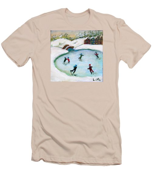 Skating Pond Men's T-Shirt (Slim Fit) by Laurie Morgan