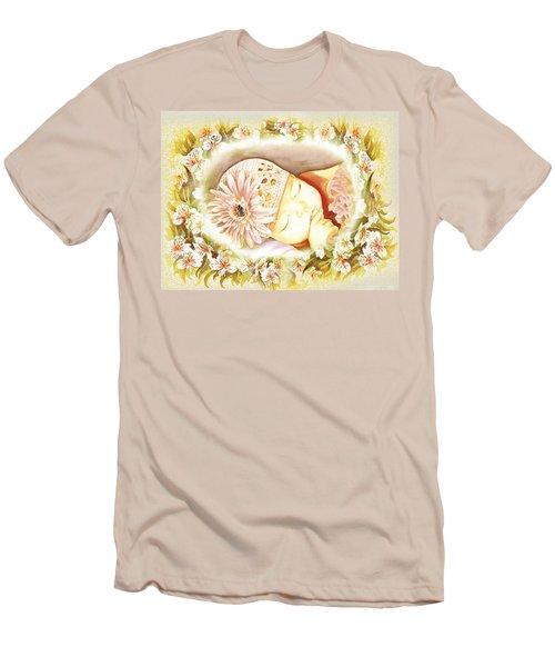 Men's T-Shirt (Slim Fit) featuring the painting Sleeping Baby Vintage Dreams by Irina Sztukowski