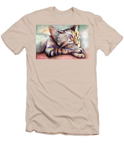 Sleeping Kitten Men's T-Shirt (Slim Fit) by Olga Shvartsur
