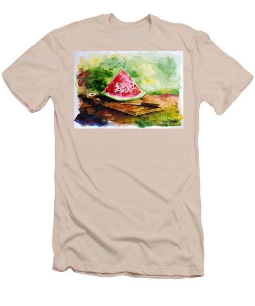 Sliced Watermelon Men's T-Shirt (Slim Fit) by Zaira Dzhaubaeva