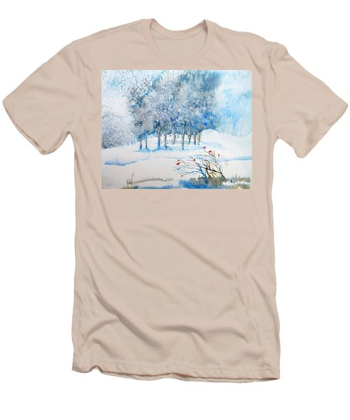 Snow Blizzard In The Grove  Men's T-Shirt (Slim Fit) by Trudi Doyle