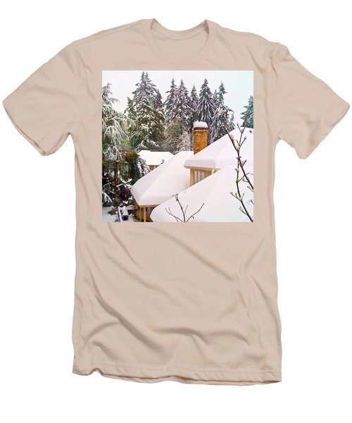 Snow Covered Rooftops - Winter In Lake Oswego Or Men's T-Shirt (Athletic Fit)