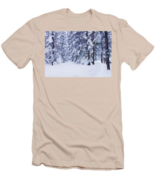 Snow-dappled Woods Men's T-Shirt (Slim Fit) by Don Schwartz