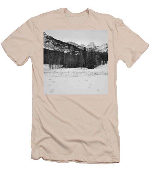 Snow Prints Men's T-Shirt (Slim Fit) by Cheryl Miller