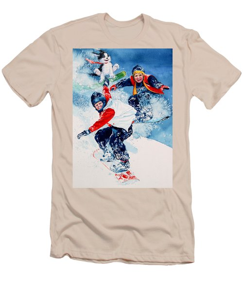Men's T-Shirt (Athletic Fit) featuring the painting Snowboard Super Heroes by Hanne Lore Koehler
