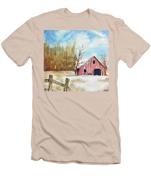 Snowy Barn Men's T-Shirt (Athletic Fit)