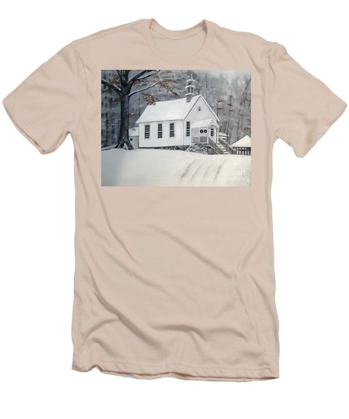 Snowy Gates Chapel  -little White Church - Ellijay Men's T-Shirt (Athletic Fit)