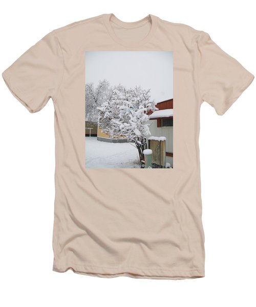 Men's T-Shirt (Slim Fit) featuring the photograph Snowy Lilac by Jewel Hengen