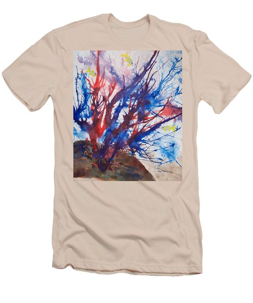 Soft Coral Splatter Men's T-Shirt (Slim Fit) by Patricia Beebe