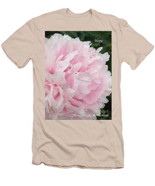 Men's T-Shirt (Slim Fit) featuring the digital art Soft Pink Peony by Jeannie Rhode