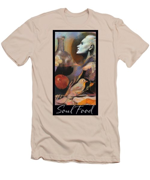 Men's T-Shirt (Slim Fit) featuring the mixed media Soul Food - With Title And Dark Border by Brooks Garten Hauschild