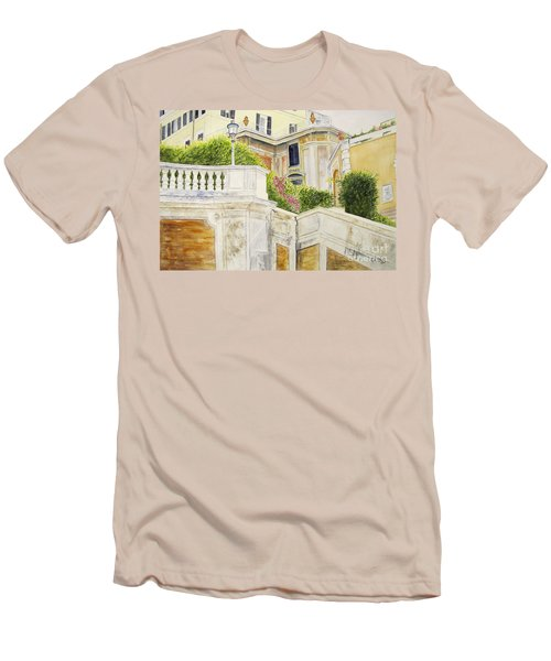 Men's T-Shirt (Slim Fit) featuring the painting Spanish Steps by Carol Flagg