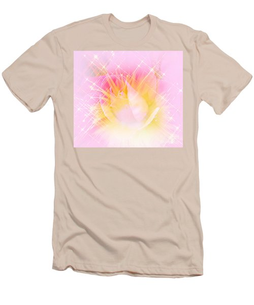 Men's T-Shirt (Slim Fit) featuring the photograph Sparkling Starlight Burst Abstract by Judy Palkimas