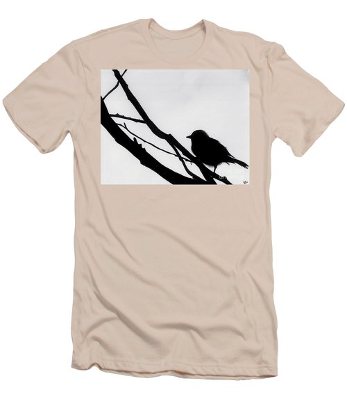 Men's T-Shirt (Slim Fit) featuring the drawing Sparrow In A Gray Sky by D Hackett