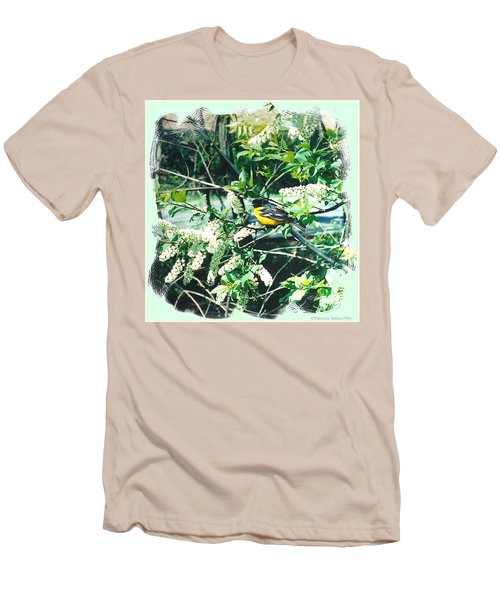 Springtime Moments- Oriole With The Cherry Blossoms Men's T-Shirt (Athletic Fit)