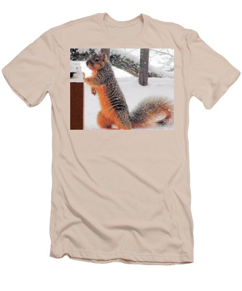 Men's T-Shirt (Slim Fit) featuring the photograph Squirrel Checking Out Seeds by Janette Boyd