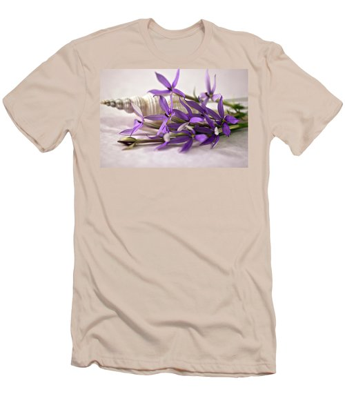 Men's T-Shirt (Slim Fit) featuring the photograph Starshine Laurentia Flowers And White Shell by Sandra Foster