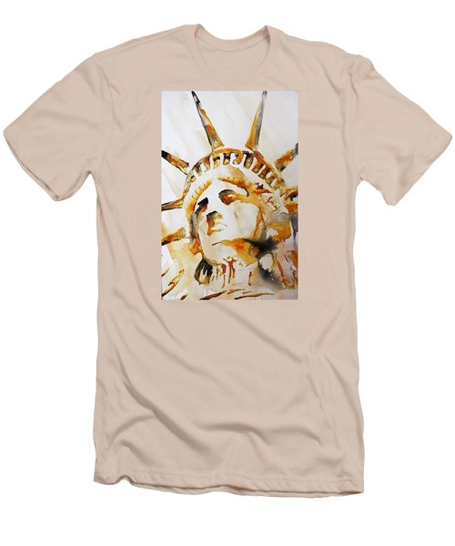 Statue Of Liberty Closeup Men's T-Shirt (Slim Fit) by J- J- Espinoza