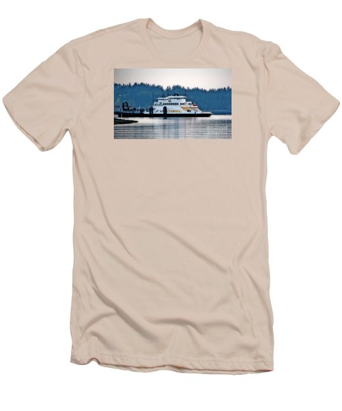Steilacoom Ferry At Dusk Men's T-Shirt (Slim Fit) by Chris Anderson