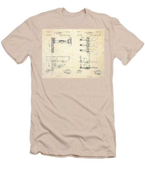 1885 Steinway Piano Pedal Patent Art Men's T-Shirt (Slim Fit) by Gary Bodnar
